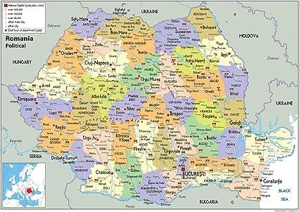 Cartina Geografica Politica Della Romania.Romania Mappa Politica Carta Plastificata Ga A2 Size 42 X 59 4 Cm Amazon It Cancelleria E Prodotti Per Ufficio