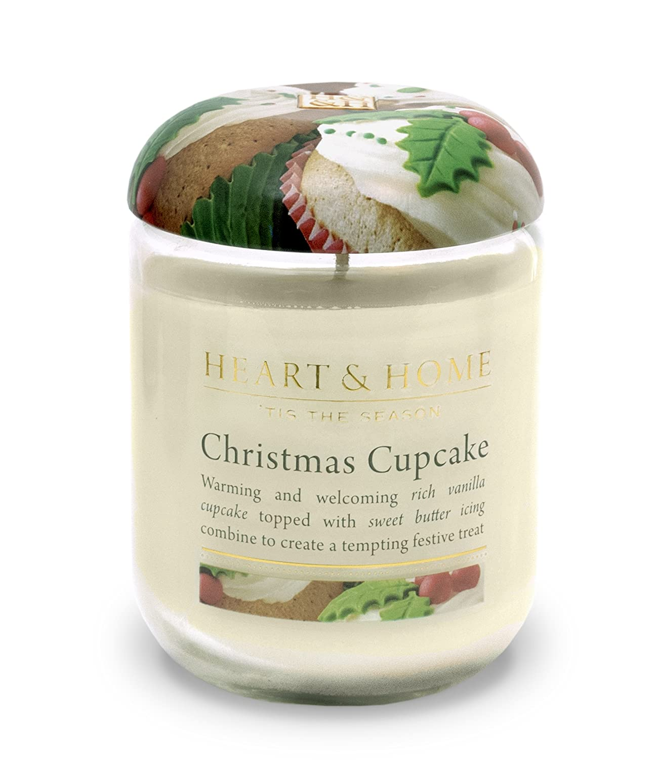 Heart & Home Large Glass Christmas Cupcake Candle History & Heraldry 00275000403