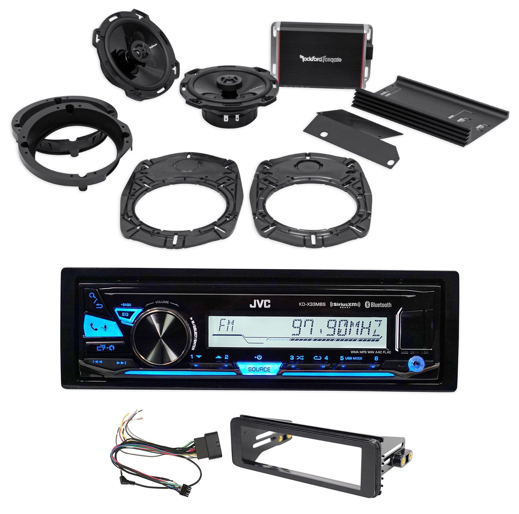 Rockford Fosgate HD9813-PKIT 98-13 Harley-Davidson 6'' Speakers+Amp+JVC Receiver by Rockford Fosgate