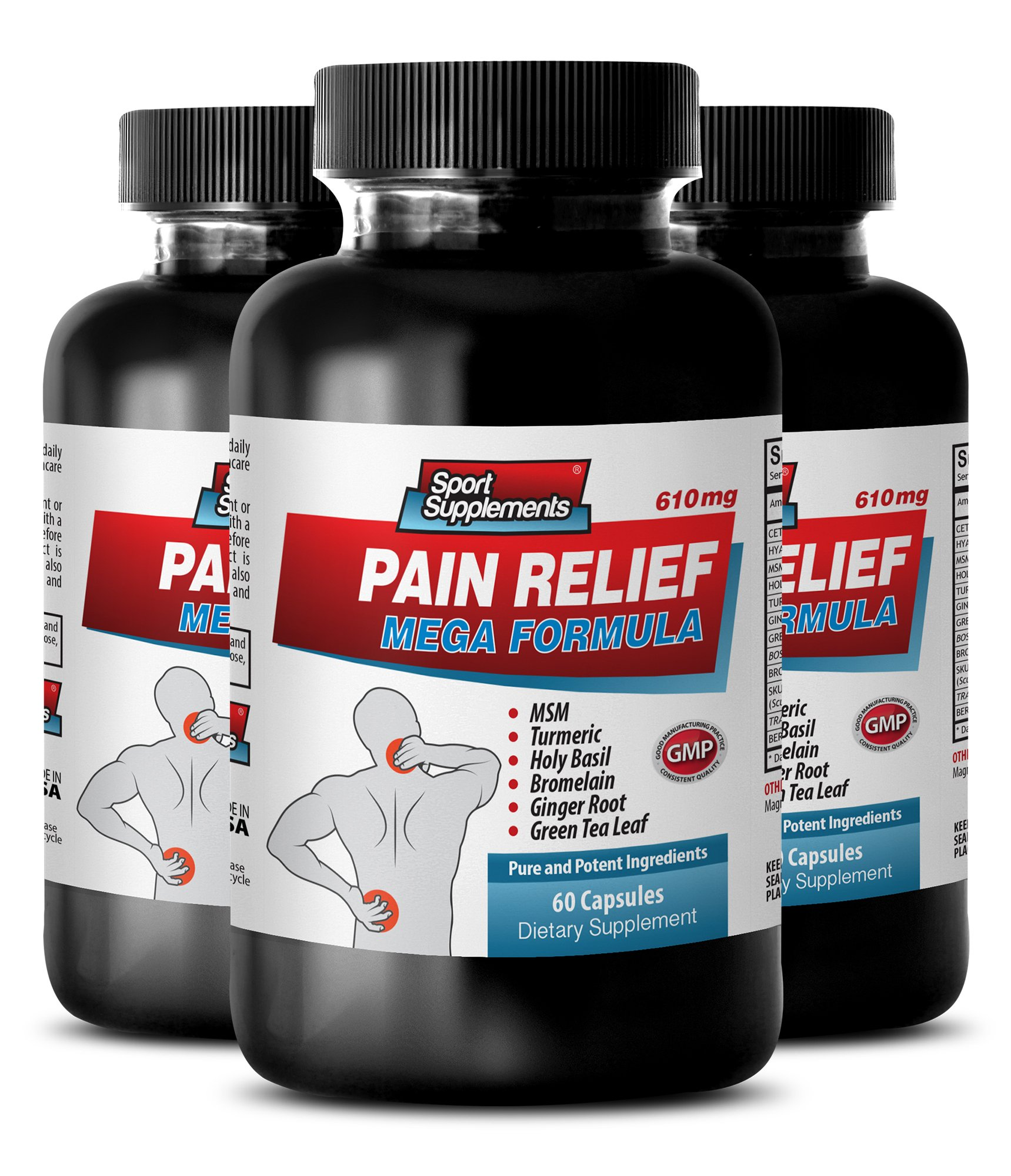 relief pain - natural - PAIN RELIEF MEGA FORMULA - 610MG - green tea leaf extract - 3 Bottle (180 Capsules)