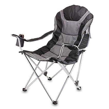 Brilliant Oniva A Picnic Time Brand Portable Reclining Camp Chair Black Gray Creativecarmelina Interior Chair Design Creativecarmelinacom