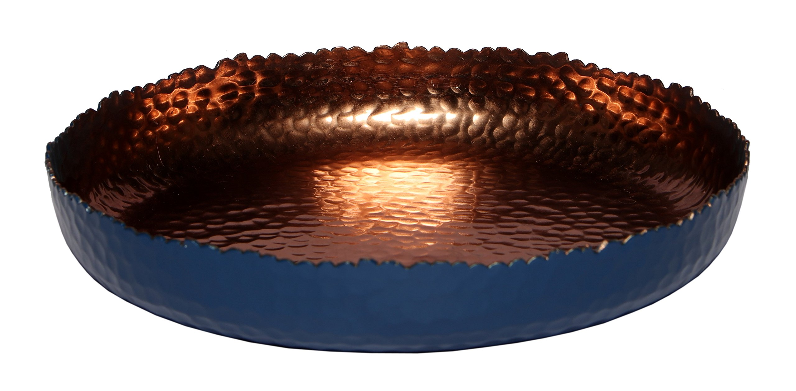 Melange Home Decor Cuivre Collection, 9-inch Round Platter, Color - Navy, Pack of 12