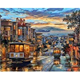 Paint by Numbers-DIY Digital Canvas Oil Painting Adults Kids Paint by Number Kits Home Decorations-Tram in Street 16…