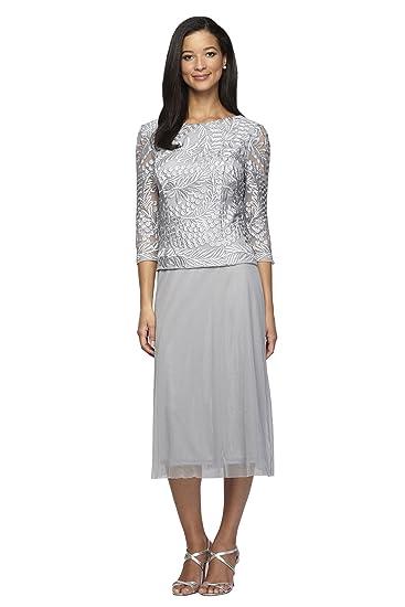 Alex Evenings Womens Petites Lace Tea Length Evening Dress Gray 8p