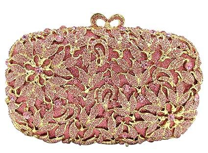Bolso Mujer Noche Bolsas Fiesta Boda Carteras Brillo Mano Diamantes Cadena Embrague Flores Rojo