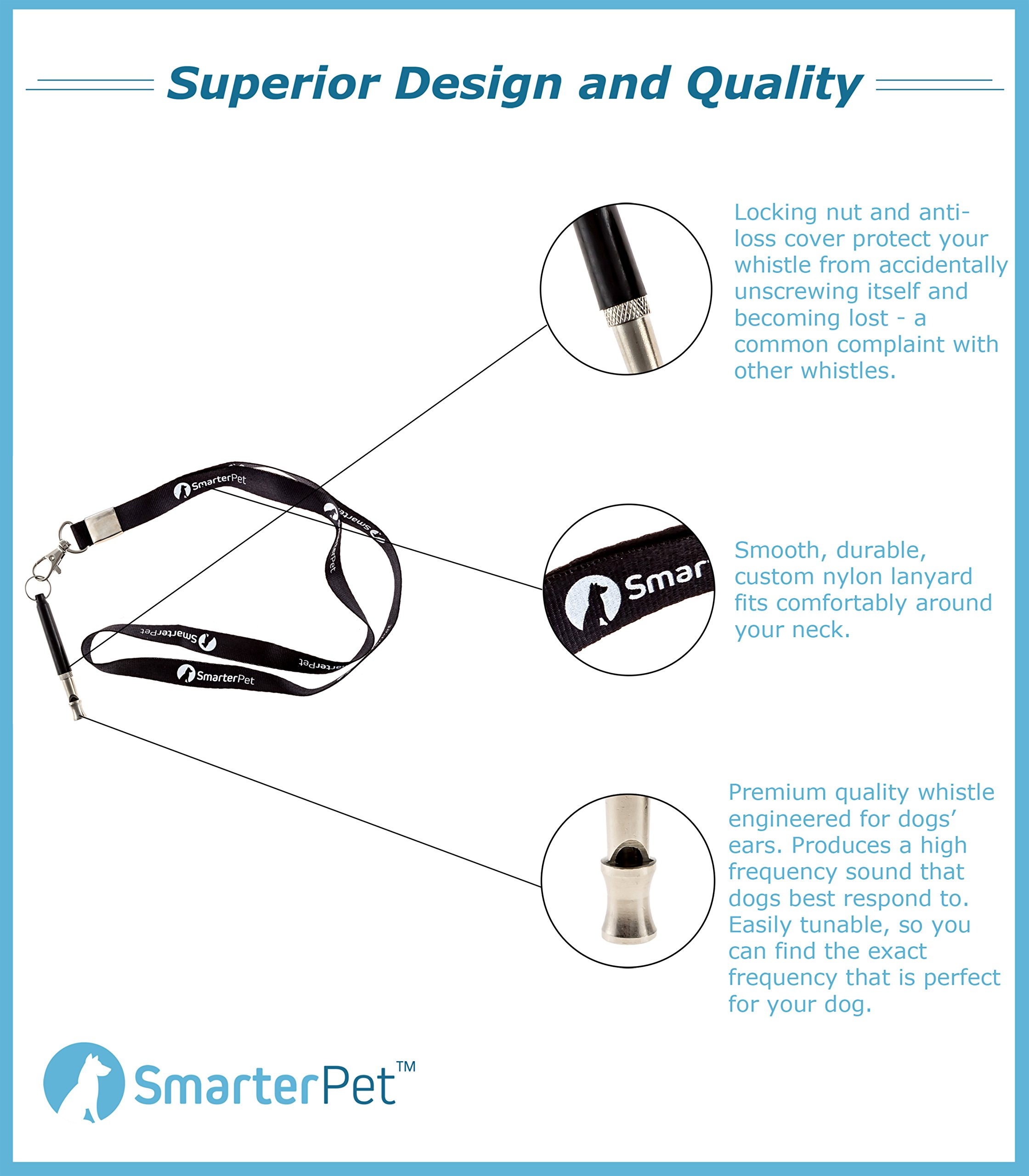 Smarter Pet Premium Dog Whistle to Stop Barking with Lanyard and Anti-loss Cover   Safest Pet Training, Obedience, and Repellent Aid   Easy to Use   100% by Smarter Pet (Image #2)