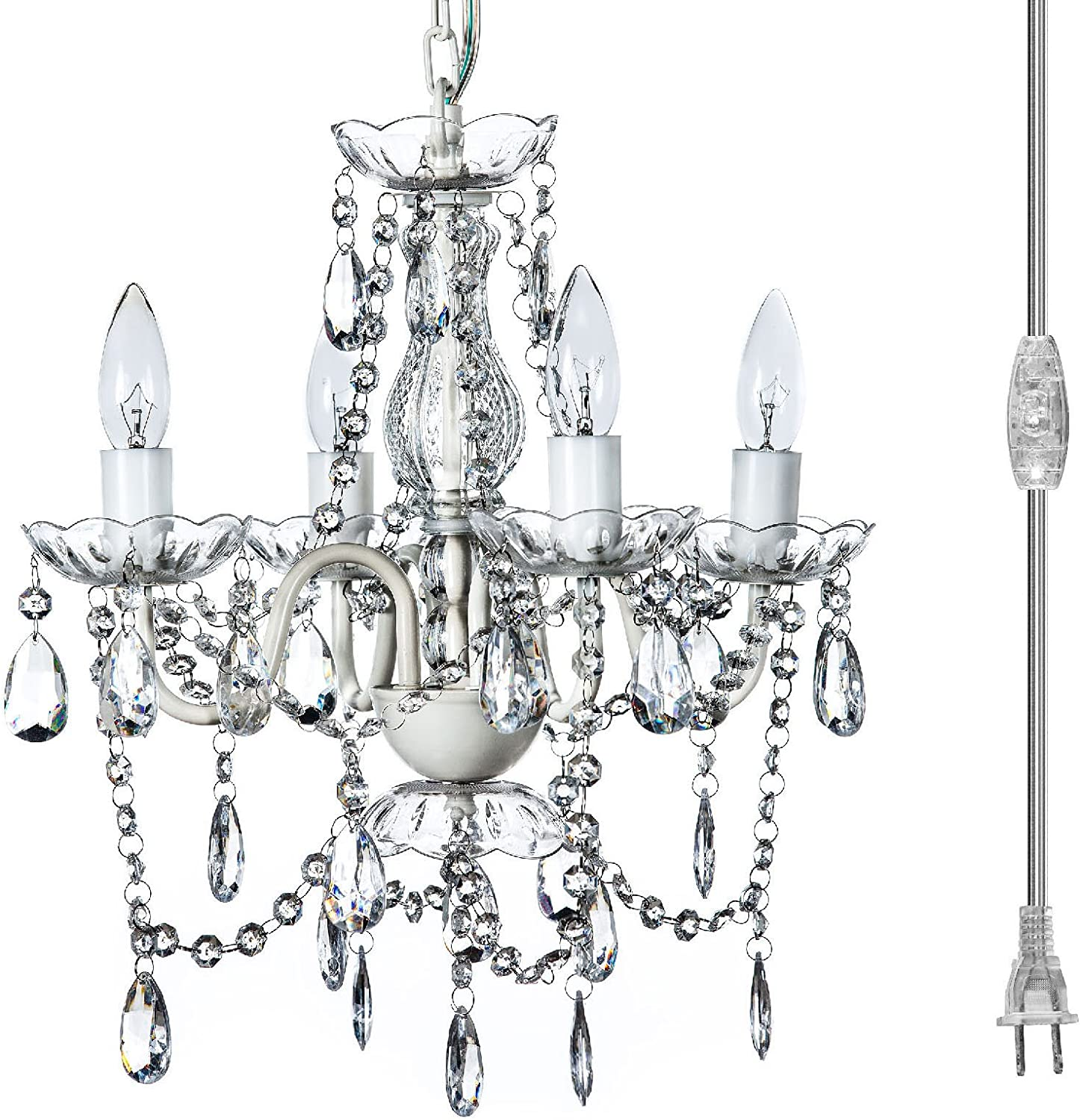 The Original Gypsy Color 4 Light Plug-in Pendant Chandelier for H17.5 x W15 , White Metal Frame with Clear Acrylic Crystals Better Than Glass