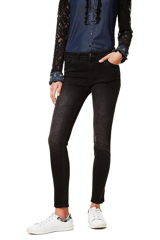 TALLA W25. Desigual Denim_Second Skin Gold Pantalones Vaqueros Delgados para Mujer