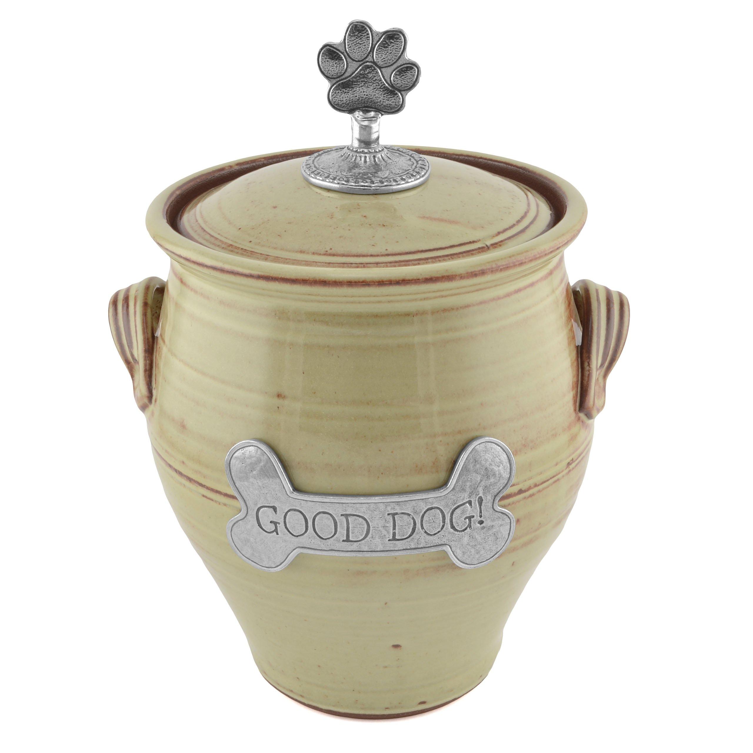 Oregon Stoneware Studio Large Dog Treat Jar, Latte