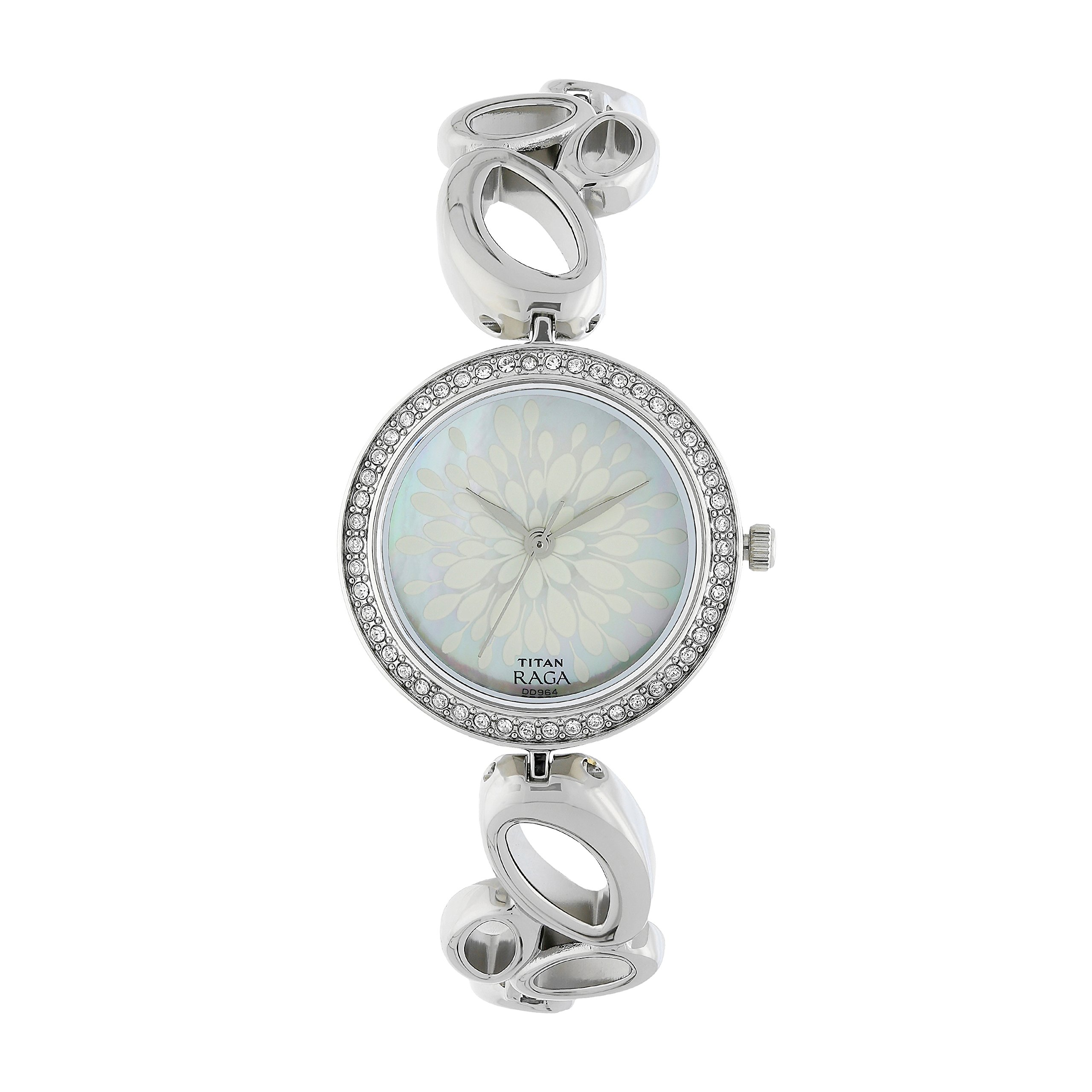 Titan Women's Raga Swarovski Crystal, Mother of Pearl Dial, Gold/Silver/Brass Metal, Jewellery Design, Bracelet Style, Designer, Quartz Glass, Water Resistant Wrist Watch