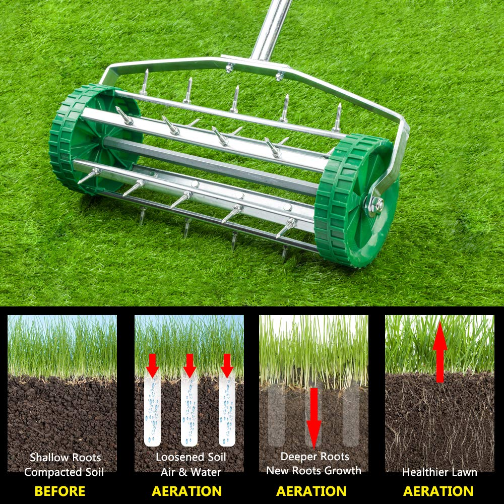 VINGLI Rolling Lawn Aerator with 51'' Handle, Push Spike Tine Roller for Home Garden Yard Patio Grass Soil Aeration, Roller Secured by Fasteners by VINGLI (Image #5)