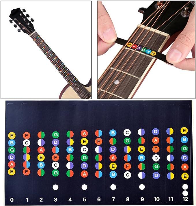 4 pegatinas para guitarra, etiquetas de diapasón, mapa de notas ...