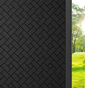 rabbitgoo Total Blackout Window Film Privacy, Sun Light Blocking Window Tinting Film for Home, Static Cling Room Darkening Window Sticker for Day Sleep, Anti UV Black Glass Cover(17.5 x 78.7 inches)