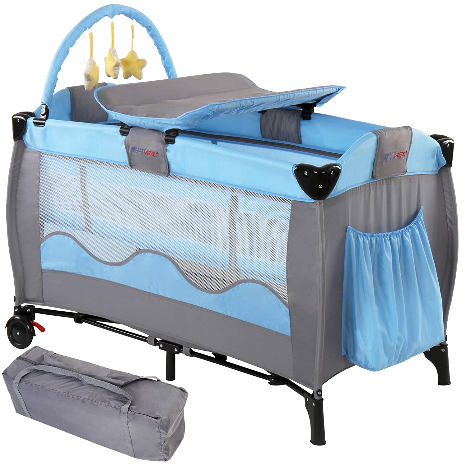 Infantastic Baby Bed Travel Cot Portable Child Nursery Furniture with Toys - Blue FF Europe krb01blau