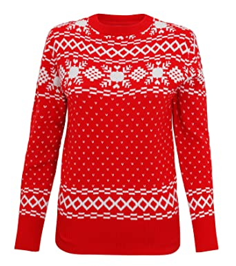 3d7b211a850 Womens Vintage Knitted Nordic Christmas Jumper - Red - XS  Amazon.co.uk   Clothing