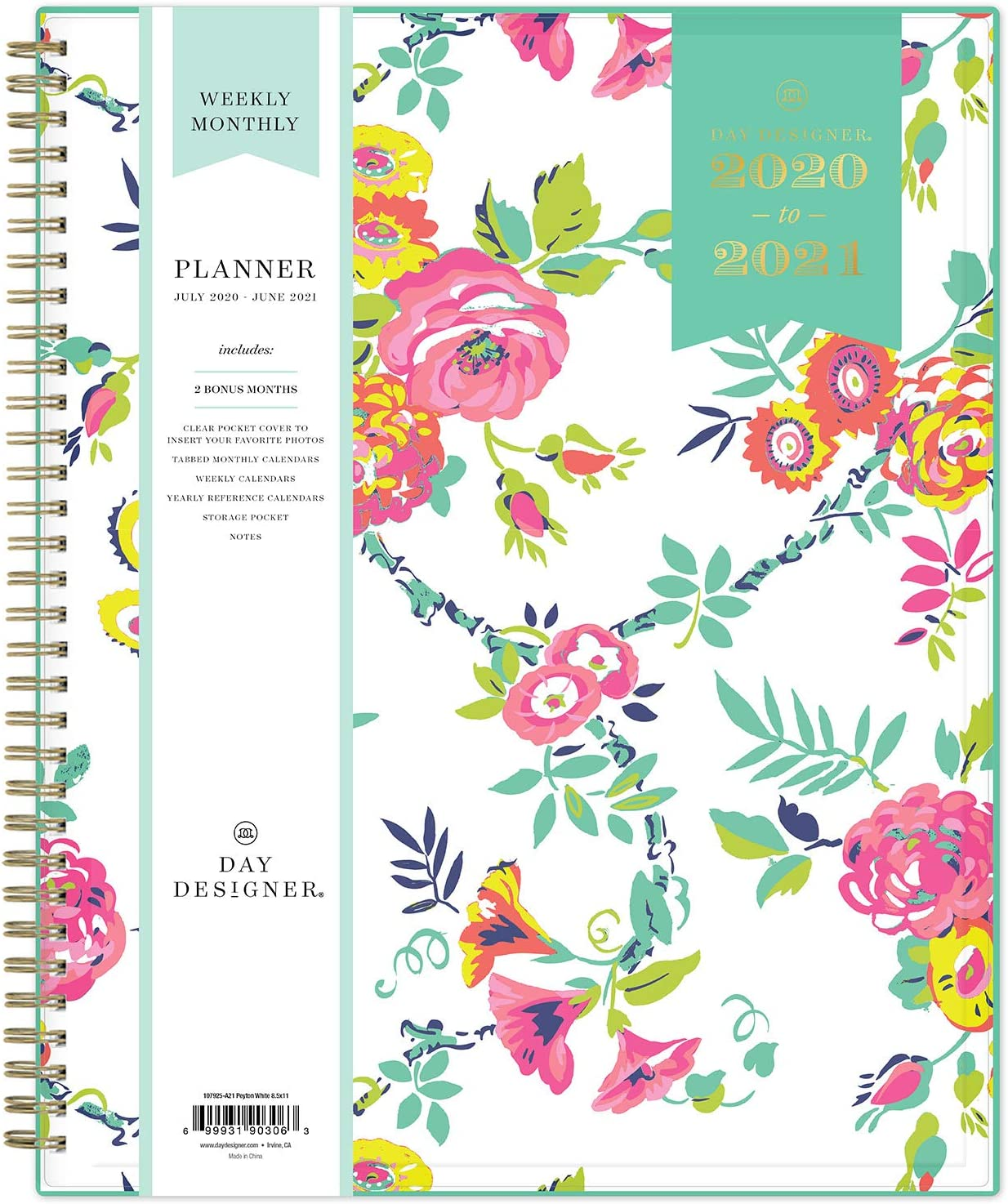 "Day Designer for Blue Sky 2020-2021 Academic Year Weekly & Monthly Planner, Flexible Cover, Twin-Wire Binding, 8.5"" x 11"", Peyton White : Office Products"