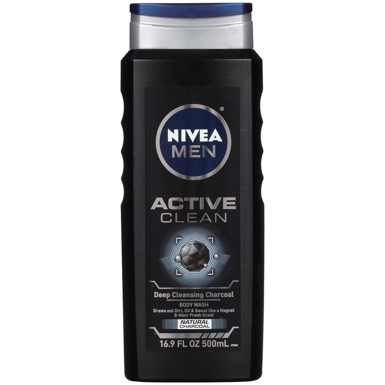 NIVEA FOR MEN Body Wash Active Clean 16.9 oz (Pack of 4)