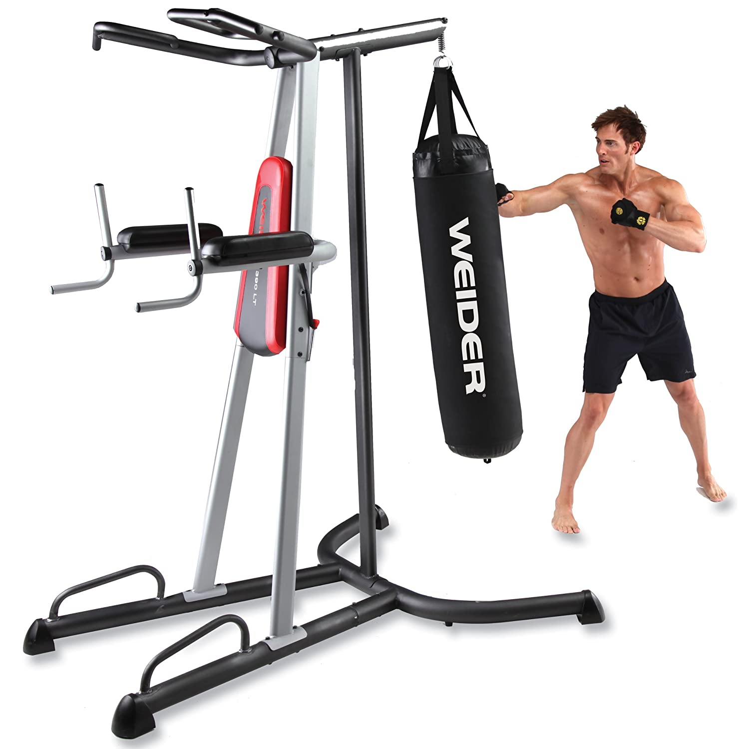 46d0eaa6ae Amazon.com   Weider 390 LT Power Tower Home Gym   Chinup Dip Station With  Punching Bag   Sports   Outdoors