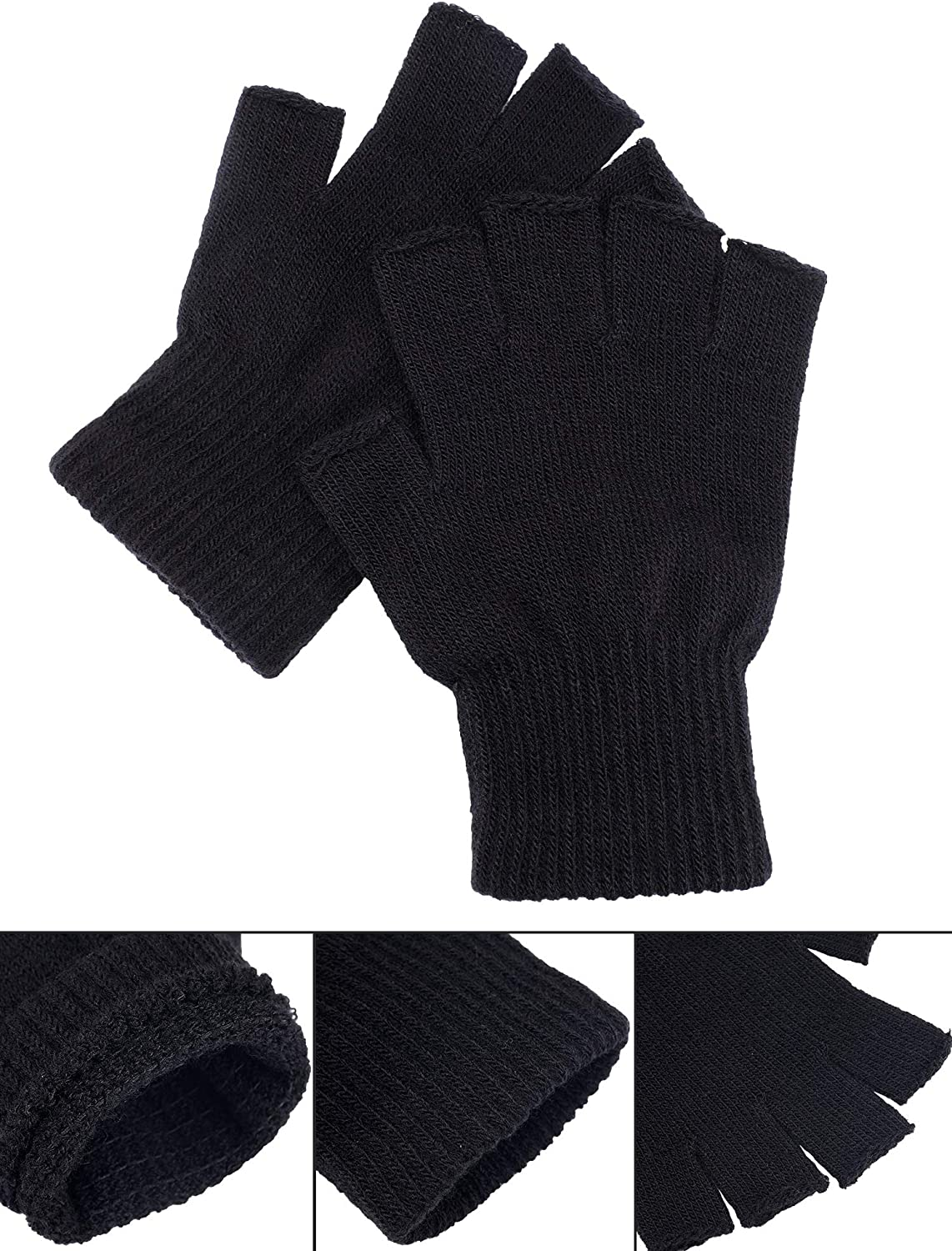 Satinior 2 Pair Black Half Finger Gloves Unisex Winter Stretchy Knit Fingerless Gloves, Common Size at  Men's Clothing store