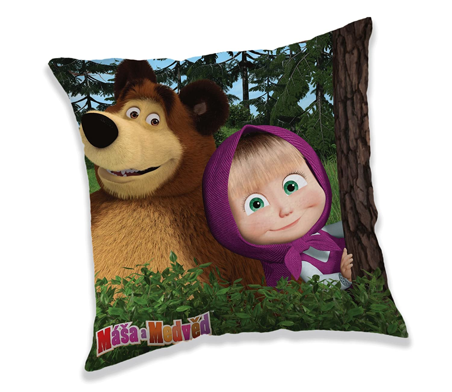 Jerry Fabrics Masha and Bear Character Cushion Decorative Throw Pillows for Kids, Polyester, Multi-Colour, 40 x 40 x 5 cm JERRY FABRICS s.r.o. 17CS287