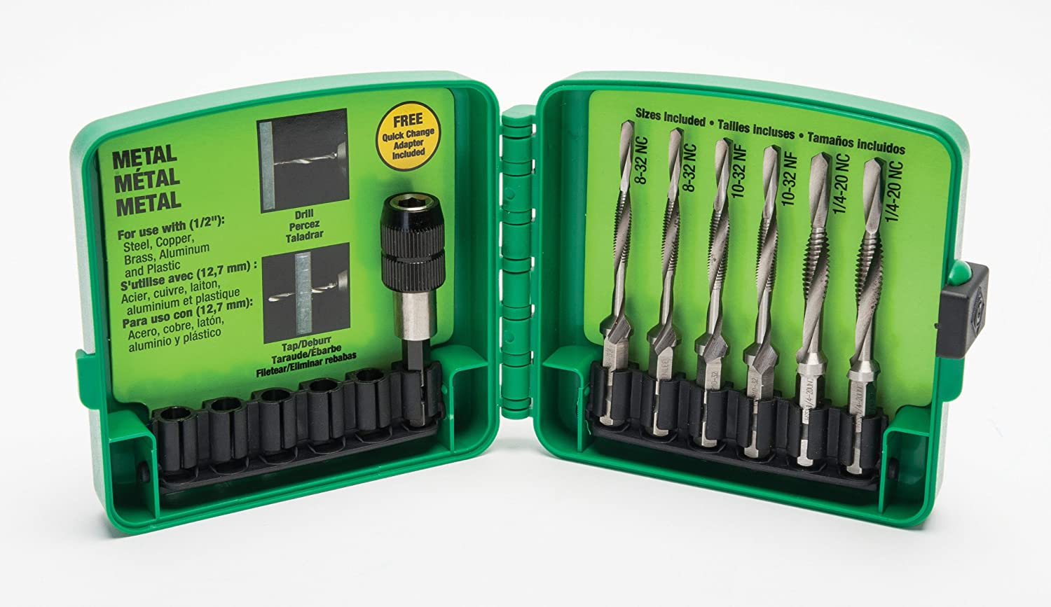 Greenlee LDTAPKIT Long Drill Bit Kit with Quick Change Adapter (6-Piece)