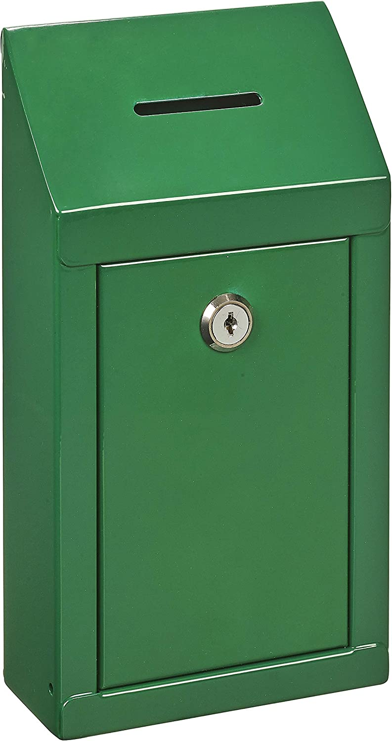 Metal Donation Box & Collection Box Office Suggestion Box Secure Box with Top Coin Slot and Lock Included with 2 Keys - Easy Wall Mounting or Counter Top Use (Green)