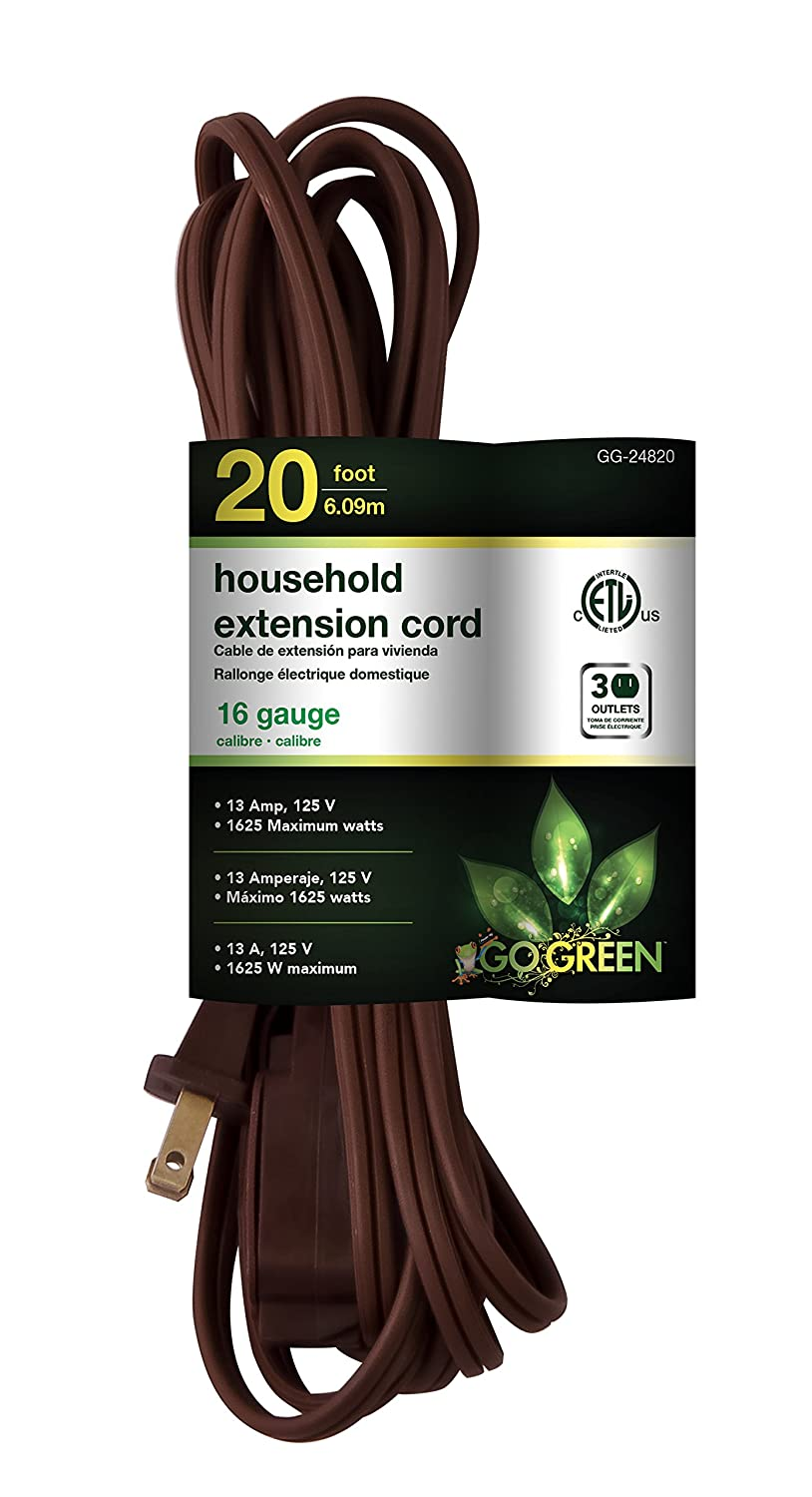 GoGreen Power GG-24820 16/2 20' Household Extension Cord - Brown