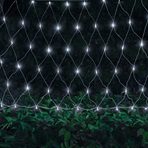 Oopswow 9.8ft x 6.6ft 192 LED Christmas Net Lights,8 Modes 30V Low Voltage Mesh Fairy String Lights for Christmas Trees, Bushes, Wedding, Garden, Outdoor Decorations (Cool White)