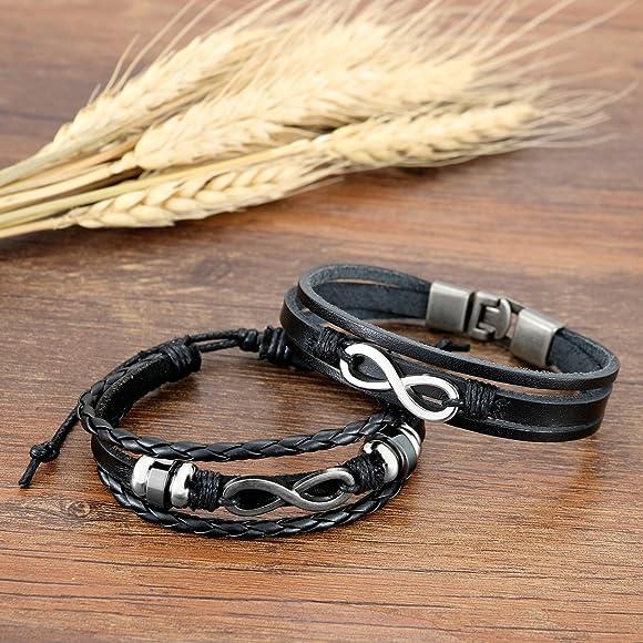 2PCS Set Couples Leather Bracelet Cuff Love Infinity Charm Bangle for Men Women