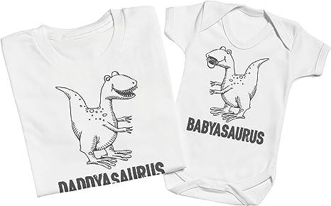 Matching Father Baby Gift Set Mens T Shirt /& Baby Bodysuit Zarlivia Clothing Daddysaurus /& Babysaurus