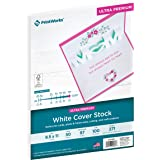 Printworks White Cover Stock, Ultra Premium, 100 lb. Cover, 50 Sheets, 8.5 x 11, 97 Bright, For Cards, Photo & Frame Mats, Cu