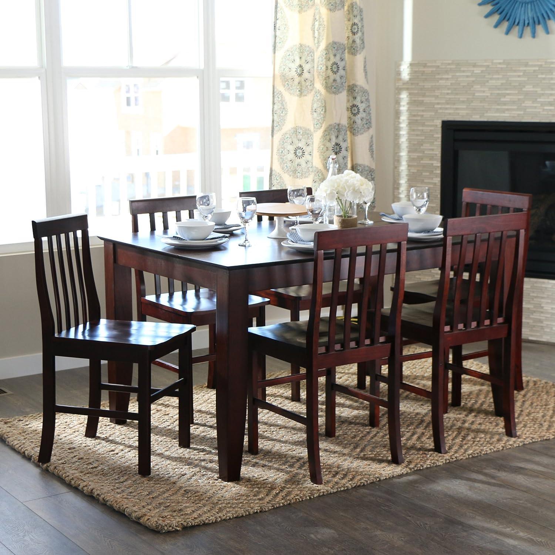 amazon com walker edison 7 piece espresso wood dining set amazon com walker edison 7 piece espresso wood dining set table chair sets