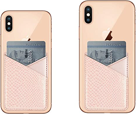 Cell Phone Stick on Wallet Card Holder,3 Pack Universal ID Credit Card Wallet Pocket Pouch Cash Slot,3M Adhesive Slim Sticker for Android,iPhone,Smart Phone,Black,Gray,Pink