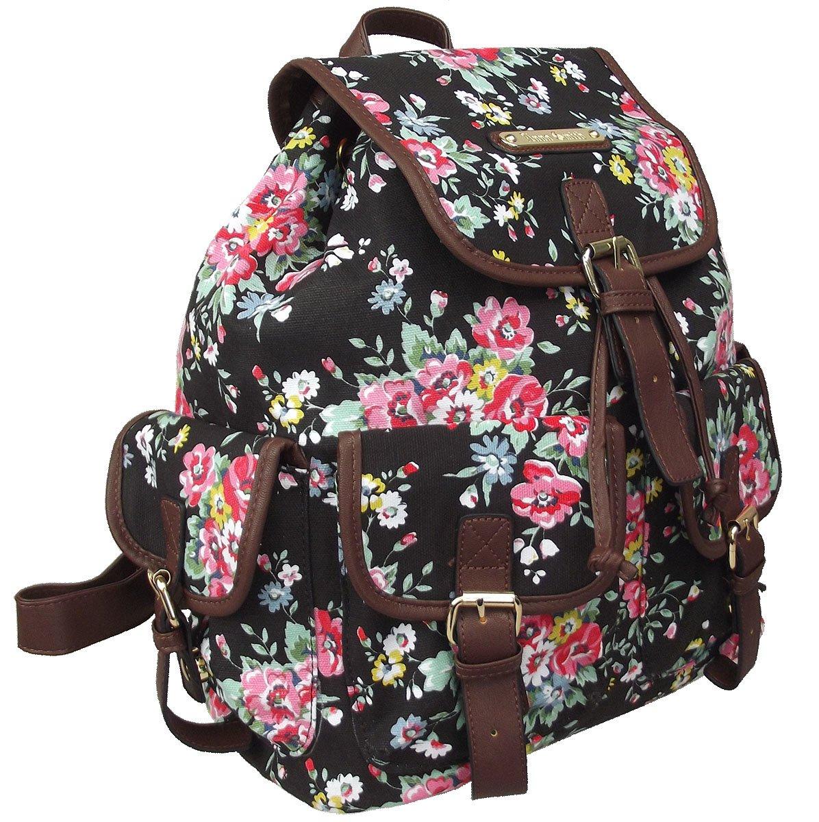 28846ba7e6 Anna Smith (By LYDC) Floral Frances Backpack   Ladies Girls Designer Flower  Print Canvas Rucksack (Black)  Amazon.co.uk  Luggage