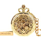 Manchda メンズ 復古風 歯車 ローマ数字 手巻き 機械式 懐中時計