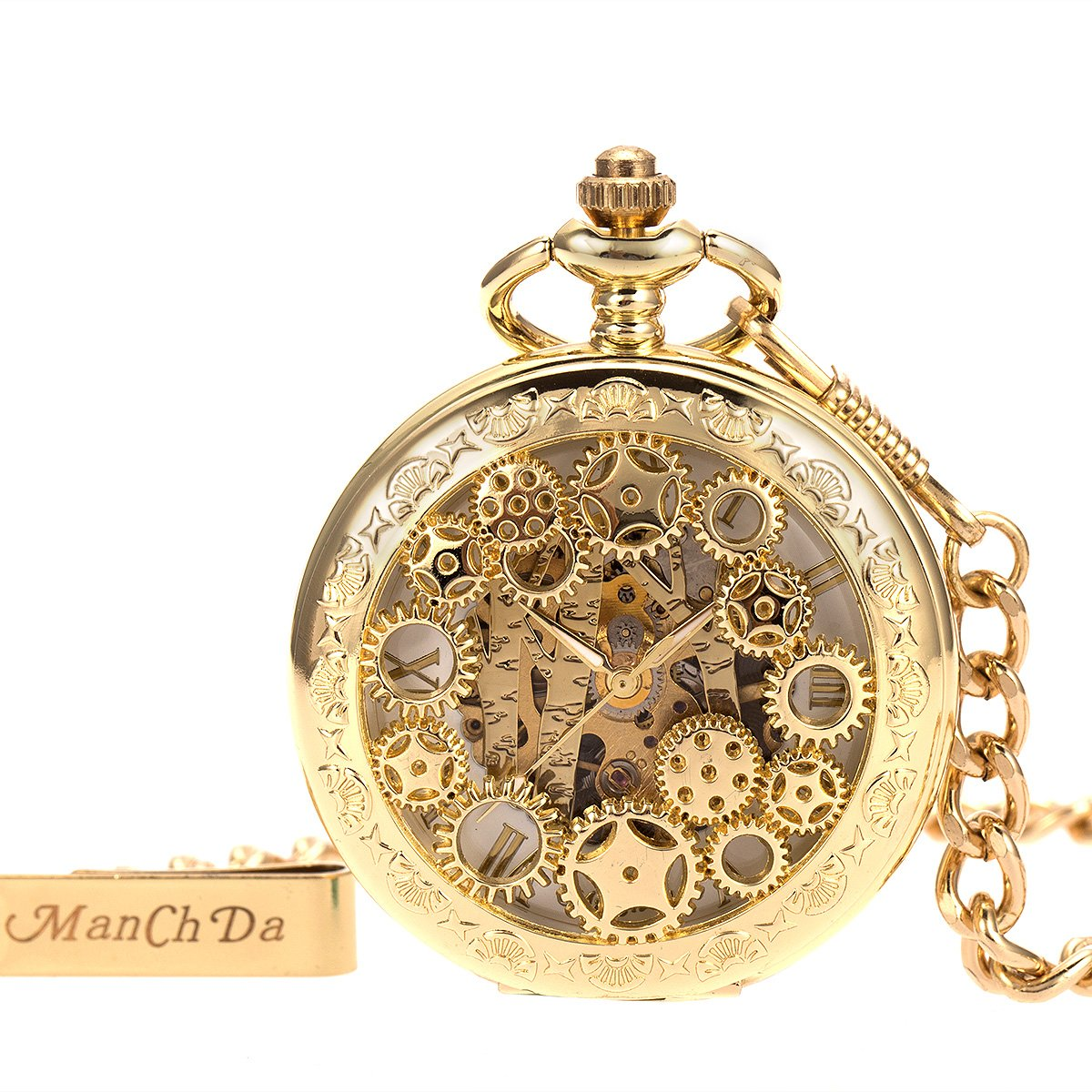 ManChDa Steampumk Skeleton Mechanical Pocket Watch Mens Double Hunter Golden Roman Numerals with Chain