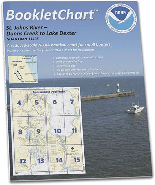 TRADITIONAL PAPER Johns River Dunns Creek to Lake Dexter 37.6 X 27.5 Paradise Cay Publications NOAA Chart 11495: St