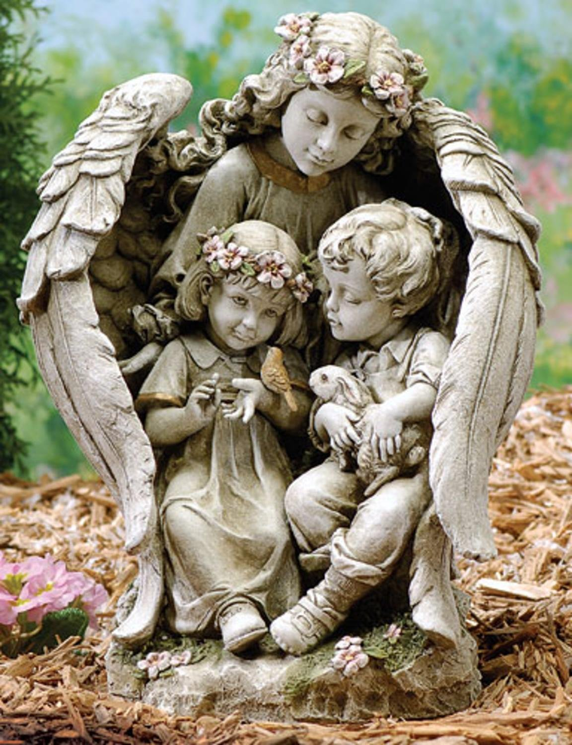 16'' Joseph's Studio Angel with Children Outdoor Garden Statue by Roman