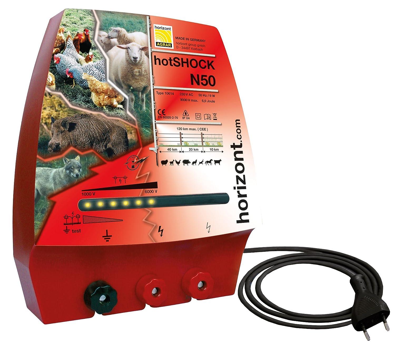 Weidezaungerät 230V horizont hotSHOCK 5,0 Joule, Sehr Schlagstark und somit ideal geeignet für schwer zu hütende Tiere, Wildabwehr