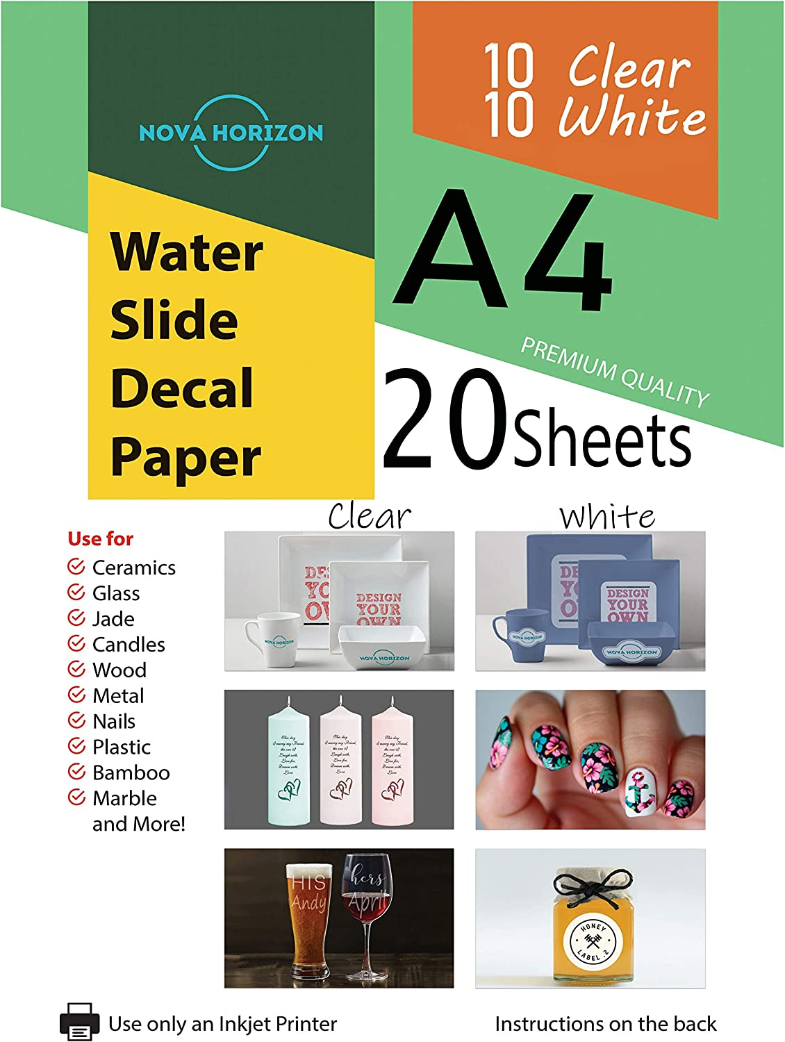 """Details about  /20 Pack PREMIUM LASER CLEAR WATERSLIDE DECAL PAPER 8.5/"""" x 11/"""" Made in USA #1"""