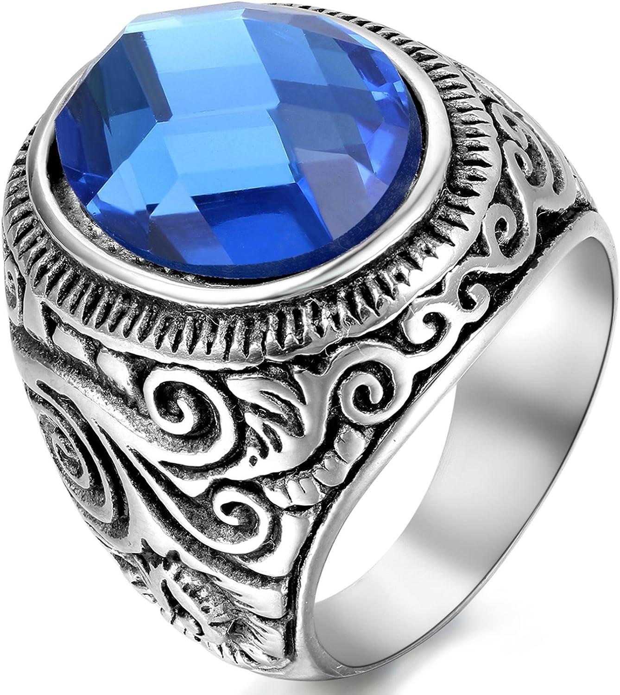 OIDEA Anillo de Acero Inoxidable para Hombre Mujer Unisex Piedra Artificial Azul Joyería Regalo San Valentín Compromiso Boda, Azul Plata