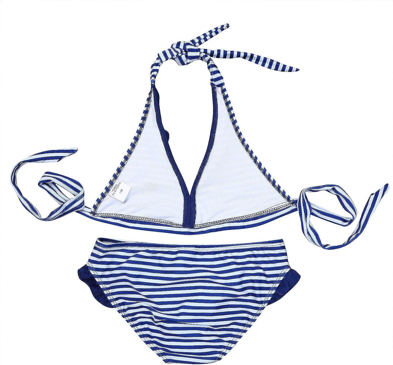 iEFiEL Big Girls Two Piece Halter Striped Tankini Swimsuit Tank Top Briefs Sets Summer Beach Bathing Suit