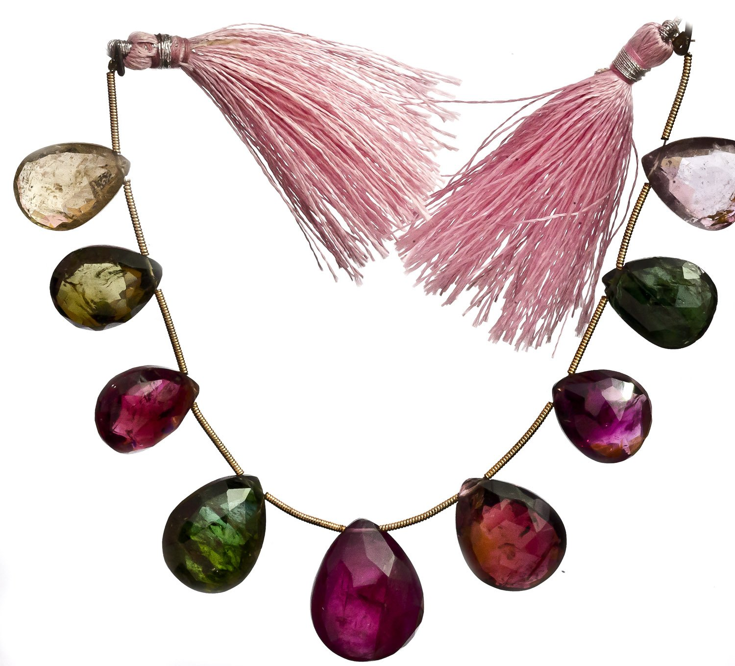 Faceted Superfine Watermelon Tourmaline Large Briolette -