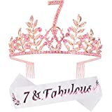 7th Birthday Gifts for Girls, 7th Birthday Tiara and Sash, 7 Fabulous Sash and Crystal Tiara, 7th Birthday Decorations for Gi
