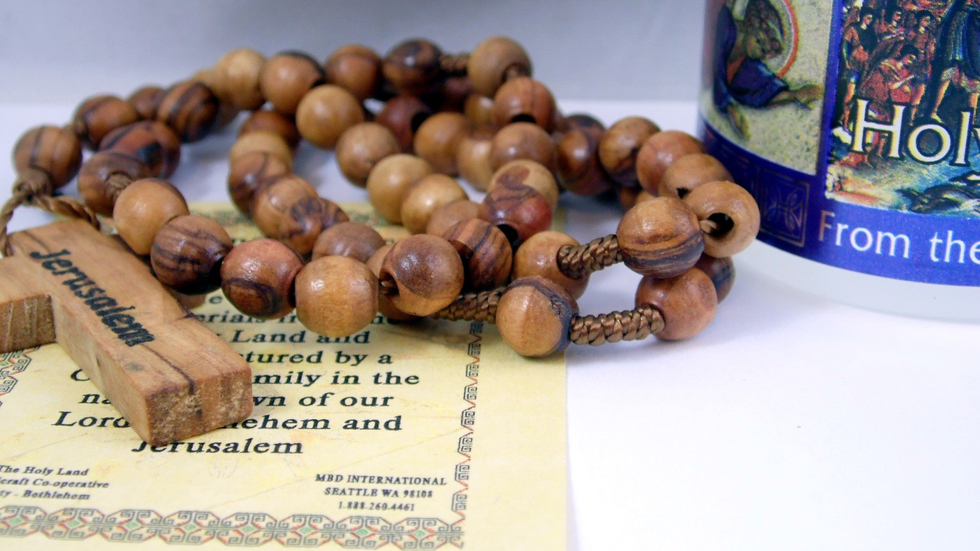 Holy Land Olive Wood Rosary Beads From Jerusalem with Cross Holy Water Bottle From the Jordan River