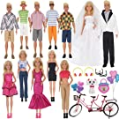 EuTengHao 30Pcs Doll Clothes and Accessories for Ken Doll and Barbie Doll Includes 12 Set Wear Clothes Jeans and Wedding Dresses Tandem Bike Glasses Dog Bag and Colorful Balloons for Ken Barbie Doll