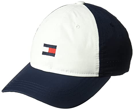 a136738b Tommy Hilfiger Men's Dad Hat Flag Golf Cap Baseball, Multi/Classic  White/Navy