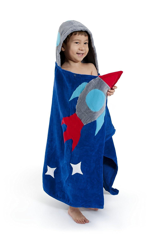 KIDORABLE Space Hero All-Cotton Hooded Blue Towel for Boys w//Fun Astronaut Helmet Rocket