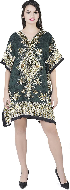 SKAVIJ Womens Tunic Viscose Caftan Short Casual Loose Dress Free-Size