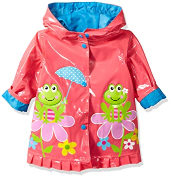 9cf0afde3d1f Amazon.com  Wippette Baby Girls Shiny Frog On Flower Infant Rain ...
